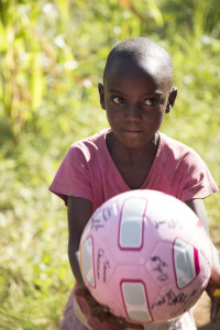 Lamula and her pink soccer ball