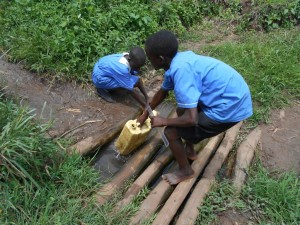 Mawanda village well with kids fetching water